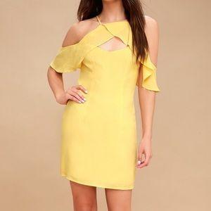 Bb Dakota Yellow Flutter Sleeve Dress